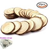 """Goodlucky 50pcs 2""""-2.5"""" Unfinished Natural Wood Slices Circles with Tree Bark Log Discs"""
