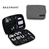 BAGSMART Small Travel Electronics Cable Organizer Bag for Hard Drives, Cables, Charger, Grey