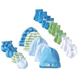 Gerber Baby Boys' 15 Piece Socks, Caps, and Mittens Essential Gift Set
