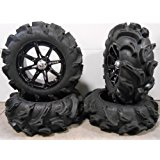 "Bundle - 9 Items: MSA Black Diesel 14"" ATV Wheels 27"" Mega Mayhem Tires [4x156 Bolt Pattern 3/8x24 Lug Kit]"