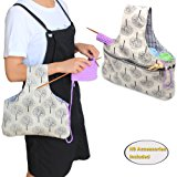 Teamoy Knitting Tote Bag, Travel Canvas Project Wrist Bag for knitting Needles(up to 14 Inches), Yarn and Crochet Supplies, Lightweight, Multipurpose, Perfect Size for Knitting on The Go(Large, Tree)