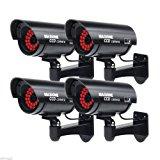 Masione 4 Pack Outdoor Fake / Dummy Security Camera with 30 Illuminating LED Light (Black) CCTV Surveillance