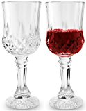 Circleware Odyssey Italian Cut Glass White/Red Wine Glasses on Fancy Stem, Set of 4, 6.76 Ounce Each, Limited Edition Glassware Drinkware Barware