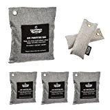 6 Pack - Charcoal Deodorizer Odor Neutralizer Bags Complete Pack - Car Freshener Bags – (1x 500g, 3x 200g & 2x 50g), 100% Natural Chemical-Free, Naturally Activated Bamboo Air Purifying Bag, Unscented