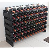Stackable Modular Wine Rack Stackable Storage Stand Display Shelves, Wobble-Free, Pine wood, WN84 (BLACK-72 Bottle Capacity)