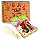 aGreatLife Rainbow Scratch Art Notebooks: Best Scratch Rainbow Notes - Drawing Notepads For Kids with 4 Colorful Mini Notebooks and 4 Wooden Styluses