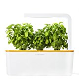 Click & Grow Indoor Smart Fresh Herb Garden Kit With 3 Basil Cartridges & Orange Lid | Self Watering Planter & Patented Nano-Tech Medium For Plant Growth