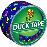 Duck Brand 283928 Printed Duct Tape, Colorful Paws, 1.88 Inches x 10 Yards, Single Roll