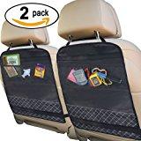 Best Kick Mats with Backseat Organizer Pocket Storage – 100% Waterproof – 2 Pack
