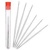 Shappy 6 Pieces Big Eye Beading Needles with Needle Bottle (2 Sizes)