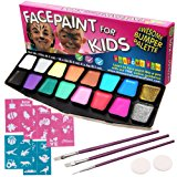 Face Paint Kit, BIG BUMPER 16-Pack for Kids with Make-Up Case. Face Painting Party Set with 3 Professional Brushes, 2 Sponges, 14 Colors, Stencils, Glitter Gel, FREE eBook. Safe Non-Toxic Water-Based