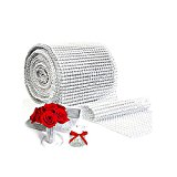 "Silver Diamond Sparkling Rhinestone Mesh Ribbon for Event Decorations, Wedding Cake, Birthdays, Baby Shower, Arts & Crafts, 4.75"" x 10 Yards, 24 Row, 1 Roll"