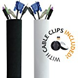 PREMIUM 63'' Cable Management Sleeve with Free Cable Clips | Best Cords Organizer for TV, Computer, Home Entertainment | Fully DIY Adjustable Velcro Cord Sleeve, Wire Cover, Concealer, Cable Wrap