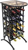 Sorbus Wine Rack Stand Bordeaux Chateau Style with Glass Table Top - Holds 18 Bottles of Your Favorite Wine - Elegant Looking French Style Wine Rack to Compliment Any Space - Minimal Assembly