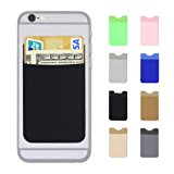 AxPower Cellphone Credit Card Holder 3M Adhesive Stick on Wallet Lycra Cell Phone Cash Pouch for iPhone 7 iPhone 8 iPhone X Samsung S8 S8 Plus (Black)