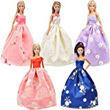 E-TING Lot 5 Fashion Gorgeous Princess Clothes Dresses Grows Outfit with Floral-print Voile all around for Barbie Doll Gift