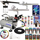 Master Airbrush Professional 3 Airbrush System with Compressor and 6 Color Primary Paint Set