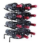 Finnhomy 12 Bottle Wine Rack, Wine Bottle Holder Free Standing Wine Storage Rack,Thicken Steel Wire, Iron, Brozen