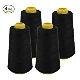 4 PACK of 6000 Yard Spools Black Sewing Thread All Purpose 100% Spun Polyester Overlock Cone (Upholstery , Canvas , Drapery, Beading, Quilting)