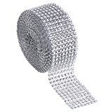 Outus 8 Row 5 Yard Acrylic Rhinestone Diamond Ribbon for Wedding Cakes, Birthday Decorations, Baby Shower Events and Arts and Crafts Projects (Silver)