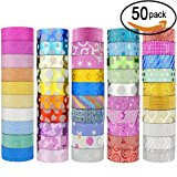 50 Rolls Glitter Washi Masking Tape Set,Great for DIY Decor Scrapbooking Sticker Masking Paper Decoration Tape Adhesive School Supplies