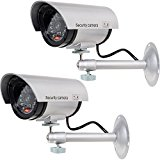 WALI Bullet Dummy Fake Surveillance Security CCTV Dome Camera Indoor Outdoor with one LED Light + Warning Security Alert Sticker Decals WL-TC-S2, 2 Pack