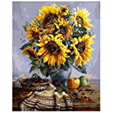"""NeoConcept DIY Oil Painting, Adults' Paint by Number Kits, Acrylic Painting - Sunflower 16 by 20"""""""