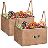 Storage Bins, MaidMAX XL Flax Kids Collapsible Storage Basket Organizer for Clothing, Children Books, Gifts or Laundry, Brown, Set of 2