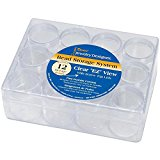 """Darice 1992-89 Clear Bead Organizer 6.3""""X4.8""""-with 12-Small Boxes"""