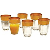 Circleware De'ore Gold Rimmed Drinking Glasses, 7 Ounce, Set of 6