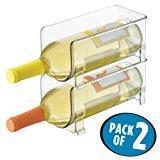 mDesign Stackable Wine Bottle Storage Rack for Kitchen Countertops, Cabinet - Holds 2 Bottles, Clear