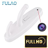 FULAO Hidden Spy Clothes Hook Cam Surveillance Full HD Covert 1280p Wireless Security Home Recorder Camera White
