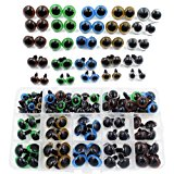 100pcs 10/12/14/16/18mm 5 Sizes in a Box Assorted Colors Plastic Safety Eyes for Teddy Bear Doll Animal Puppet Craft