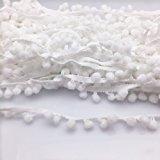 Yalulu 10Yards Pom Pom Trim Ball Fringe Ribbon DIY Sewing Accessory Lace For Home Party Decoration (White)