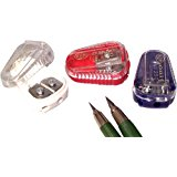 Kum 105.11.21 Polystyrene Lead Pointer 2-Hole Pencil Sharpeners with Container, Colors Vary
