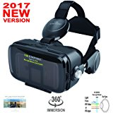 VR Headset Virtual Reality Headset VR Goggles for iPhone X 8 7 6 Plus Samsung S8 S7 S6 S8 Plus HTC Sony All Smartphones Screen Size Between 4.0-6.2 inch with Anti-Blue-Light Lenses; 120 degree FOV