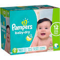 Pampers Baby-Dry Size 2 Diapers 160 ct Box