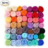 50 Colors Felting Wool Fibre Wool Yarn Roving for Needle Felting Hand Spinning DIY Craft Materials by MOMODA
