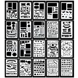 Vermogen Journal Stencils Set 20 Pcs DIY Drawing Templates for Journal Scrapbook Diary Notebook Over 1000 Different Patterns Plastic Planner Stencil for Painting