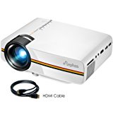 ELEPHAS LED Movie Projector, Support 1080P 150'' Portable Mini Projector Ideal for Home Theater Cinema Video Entertainment Games Party, White