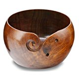 "Hagestad Yarn Bowl -7""x4"" Rosewood with Free Travel Pouch -Wooden -Large. Handmade from Sheesham - Heavy & Sturdy to Prevent Slipping. Perfect Yarn Holder for Knitting & Crocheting"