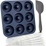Chefast Donut Pan Set - Combo Kit of Large Non-Stick Silicone Doughnut Pan, 5 Pastry Bags, and Spatula - Oven, Freezer, and Dishwasher-Safe Baking Mold for 9 Full-Size Donuts, Bagels and More