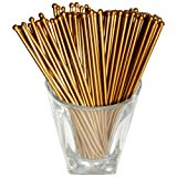 Royer 6 Inch Plastic Round Top Swizzle Sticks, Set of 48, Gold - Made In USA