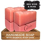 Handmade Soap - Red Wine & Rose (2 pack with Bamboo Soap Dish) Cold Process Soap Bar with Tray