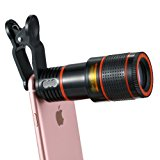 Cell Phone Camera Lens Kit, 12X Optical Zoom Universal High Definition Focus Telescope Mobile Phone Lens with Universal Clip for iPhone, Samsung Galaxy, HTC, Sony, LG & Most Smartphones