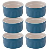 Mrs. Anderson's Baking Souffle, Ceramic Earthenware, Blueberry, Set of 6, 3.75-Inch, 6-Ounce Capacity