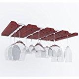 Under Cabinet Wooden Hanging Wine Glass Holder by ArtifactDesign Adjustable 4-Sectional Stemware Storage Rack Mahogany