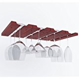 Under Cabinet Wooden Hanging Wine Glass Holder by ArtifactDesign Adjustable 4-Sectional Stemware Storage Rack Mahogany