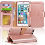 Iphone 6s Case, iphone 6 case, Arae Apple Iphone 6 / 6s [Wrist Strap] Flip Folio [Kickstand Feature] PU leather wallet case with ID&Credit Card Pockets (rosegold)