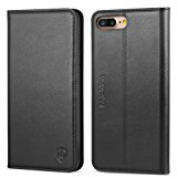 iPhone 8 Plus Case, iPhone 7 Plus Case, SHIELDON Genuine Leather iPhone 8 Plus Wallet Case Book Design with Flip Cover and [Credit Card Slot] Magnetic Closure for iPhone 8 Plus / iPhone 7 Plus - Black